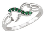 Natural Green Emerald Infinity Ring 1/7 Carat (ctw) in Sterling Silver