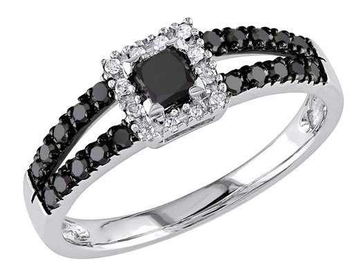 1/2 Carat (ctw) Black and White Princess Cut Diamond Ring in 10K White Gold