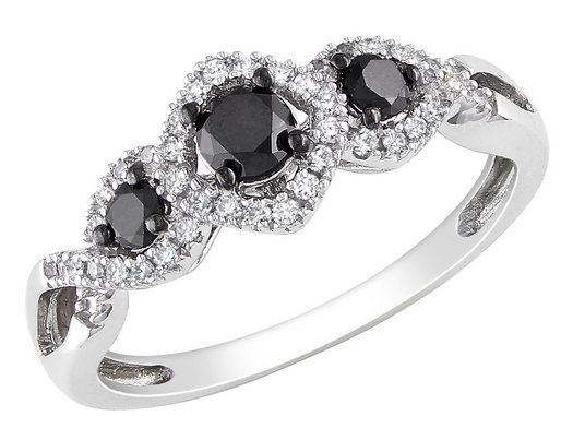Black and White Diamond Three Stone Ring 1/2 Carat (ctw) in 10k White Gold
