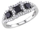 Black and White Three Stone Diamond Ring 1.0 Carat (ctw) in 10k White Gold