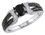 Black and White Diamond Ring 1.00 Carat (ctw) in 10k White Gold