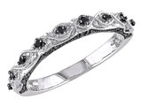 Black Diamond Ring 1/8 Carat (ctw) in 10k White Gold