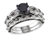 1.39 Carat (ctw) Black Diamond Engagement Ring and Wedding Band Set in 10K White Gold