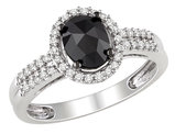 1.0 Carat (ctw) Black & White Diamond Ring in 14k White Gold