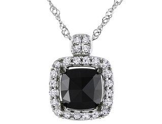 Black and White Diamond Cushion Cut Diamond Pendant Necklace 1.0 Carat (ctw) in 14k White Gold