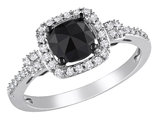 1.0 Carat (ctw) Black & White Cushion Cut Diamond Ring in 14K White Gold