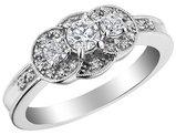 Three Stone Diamond Engagement Ring 1/2 Carat (ctw) in 10K White Gold