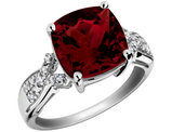 Garnet Ring with Diamonds 3.5 Carat in Sterling Silver