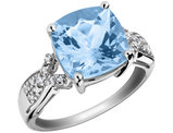 4.00 Carat (ctw) Blue Topaz Ring with Diamonds in Sterling Silver