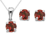 Garnet Earrings and Pendant Set 2/5 Carat (ctw) in Sterling Silver with Chain