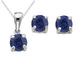 Created Sapphire Earrings and Pendant Set 1/2 Carat (ctw) in Sterling Silver with Chain