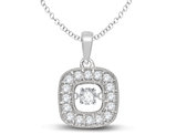 1/4 Carat (ctw Colo H-I Clarity I2-I3) Dancing Diamond Halo Pendant Necklace 10K White Gold with Chain