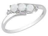 Three Stone Created Opal and Diamond Ring 1/4 Carat (ctw) in 10K White Gold