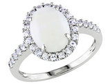 Opal and Created White Sapphire 2.25 Carat (ctw) Ring in 10K White Gold
