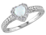 Opal and Diamond 1/5 Carat (ctw) Ring in Sterling Silver