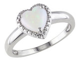 Opal Heart Ring 1.0 Carat (ctw) in Sterling Silver