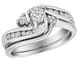 Diamond Interlocking Engagement Ring and Wedding Band Set 1/2 Carat (ctw) in 10K White Gold