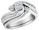 1.00 Carat (ctw) Diamond Interlocking Engagement Ring and Wedding Band Set in 10K White Gold