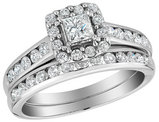 1.00 Carat (ctw I1-I2, G-H) Diamond Halo Engagement Ring and Wedding Band Set 10K White Gold