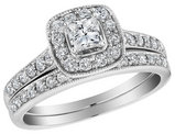 1.00 Carat (ctw) Diamond Halo Engagement Ring and Wedding Band Set 10K White Gold