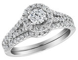 1.00 Carat (ctw H-I, I1-I2) Diamond Engagement Ring with Halo and Wedding Band Set in 10K White Gold