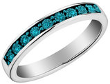 Blue Diamond Stackable Ring in Sterling Silver