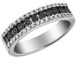 Black and White Diamond Ring 1/4 Carat (ctw) in Sterling Silver