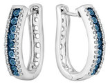 1/5 Carat (ctw I2-I3) Enhanced Blue and White Diamond Hoop Earrings in Sterling Silver