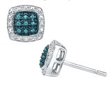 1/12 Carat (ctw I2-I3) Enhanced Blue and White Diamond Stud Earrings in Sterling Silver