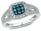 1/10 Carat (ctw I2-I3) Enhanced Blue and White Diamond Ring in Sterling Silver