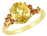 Citrine 3.60 Carat (ctw) Ring in Sterling Silver with Yellow Plating