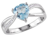 Blue Topaz and Diamond 1.40 Carat (ctw) Heart Ring in Sterling Silver