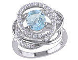 Blue and White Topaz 3.70 Carat (ctw) Flower Ring in Sterling Silver