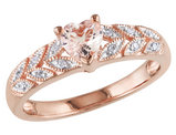 Morganite Heart Ring 1/2 Carat (ctw) with Diamonds in Rose Sterling Silver