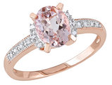 1.14 Carat (ctw) Morganite Ring with Diamonds in Rose Pink Plated Sterling Silver
