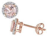 Morganite Halo Earrings 1.0 Carat (ctw) with Diamonds in Rose Sterling Silver