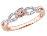 Morganite Ring with Diamonds 1/5 Carat (ctw) in Rose Sterling Silver