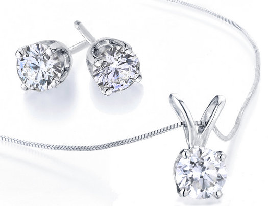 Diamond Solitaire Necklace Stud Earrings Set 1 2 Carat Ctw I2 I3