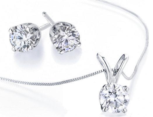 Diamond Solitaire Necklace Stud Earrings Set 1 2 Carat Ctw I2 I3