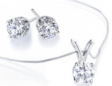 Diamond Solitaire Necklace & Stud Earrings Set 1/2 Carat (ctw I2-I3, I-J) in 10K White Gold