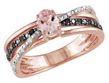 1/2 Carat (ctw) Morganite Ring with Black & White Diamonds in Rose Plated Sterling Silver