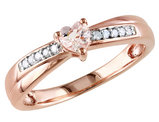 1/4 Carat (ctw) Morganite Heart Ring with Diamonds in Rose Plated Sterling Silver