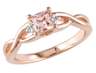 Morganite Ring 1/3 Carat (ctw) with Diamonds in Rose Sterling Silver