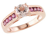 Morganite and Pink Tourmaline Ring in Rose Sterling Silver
