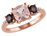 Morganite and Smokey QuartzThree Stone Ring 2.14 Carat (ctw) with Diamonds in Rose Sterling Silver