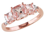 Morganite Three Stone Ring 1.40 Carat (ctw) with Diamonds in Rose Sterling Silver
