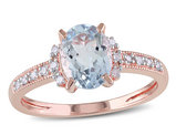Aquamarine Ring 1.0 Carat (ctw) with Diamonds in Rose Sterling Silver