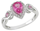 Created Pink Sapphire Ring with Diamonds 1.20 Carat (ctw) in 10K White Gold