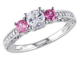 Created Pink and Created White Sapphire Three Stone 1.20 Carat (ctw) Ring with Diamonds in 10K White Gold