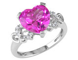 Created Pink Sapphire Heart Ring 4.20 Carat (ctw) in Sterling Silver